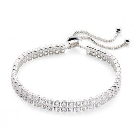 Silver Double Row Cubic Zirconia Tennis Bracelet