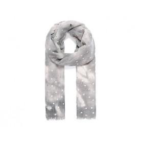 Grey and Silver Metallic Star Dip Dye Scarf