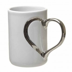 Mug with silver heart handle