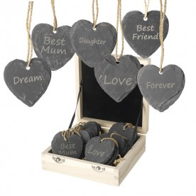 Engraved natural slate heart keepsakes