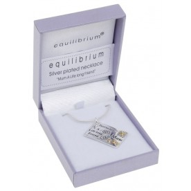 Silver Plated Postcard Necklace - Mum