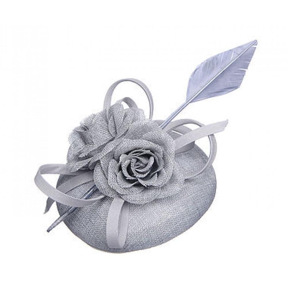 Grey Floral Linen Look Fascinator