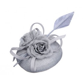 Grey Floral Linen Look Fascinator