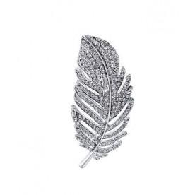 Silver Diamante Feather Brooch