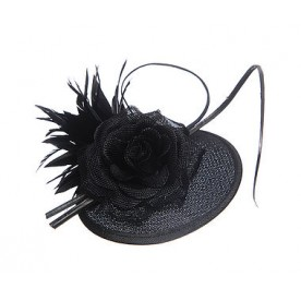 Black Rose Linen Look Fascinator