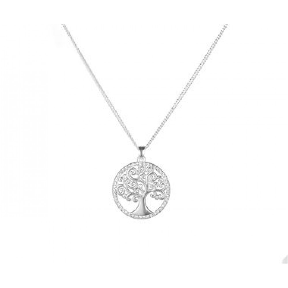 Silver Diamanté Family Tree Pendant