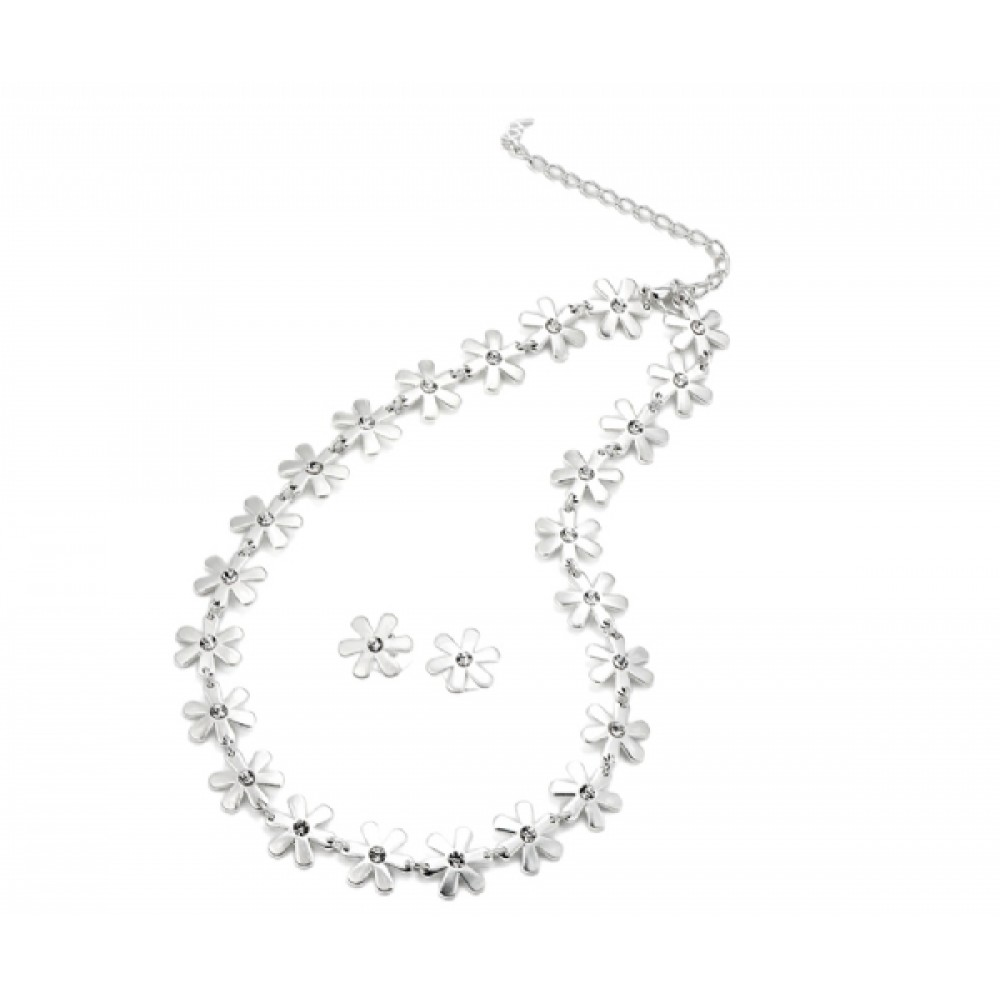 Silver Daisy Flower Necklace and Earring Set