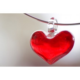 "Glass Puffed Heart Pendant - ""Sweetheart"""