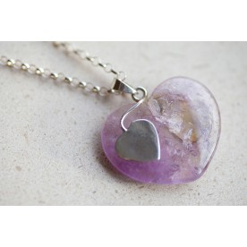 "Sterling Silver Twin Heart Amethyst Pendant - ""Lilac"""